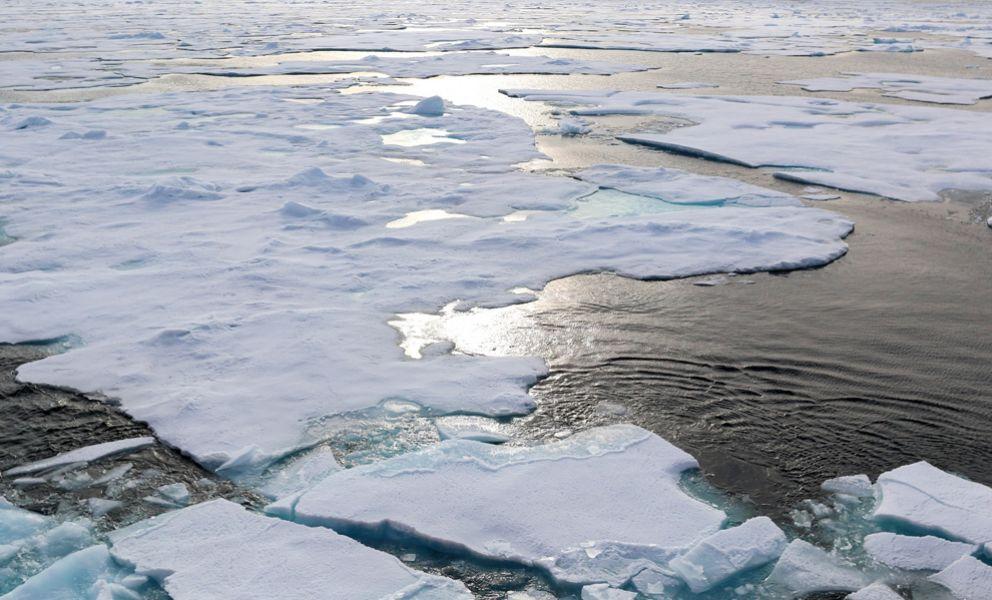 Broken sea ice in the Arctic Ocean.