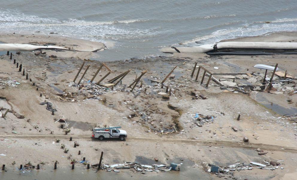 Devastation of Bolivar Peninsula, Texas, following Hurricane Ike.