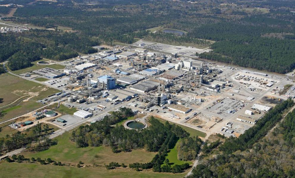 Aerial view of the former Ciba chemical plant.