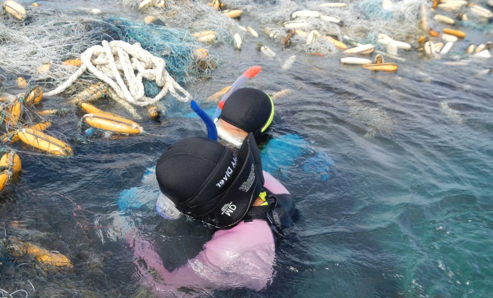 Divers detangle floating nets from remote Hawaiian reefs.