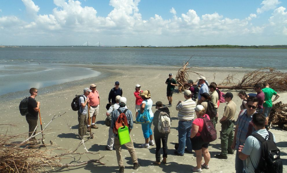Group of people on Charleston beach learning how to characterize shoreline.