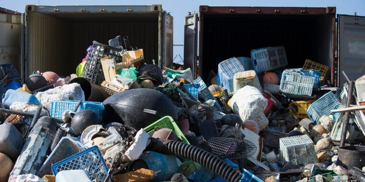 Trash in a landfill.