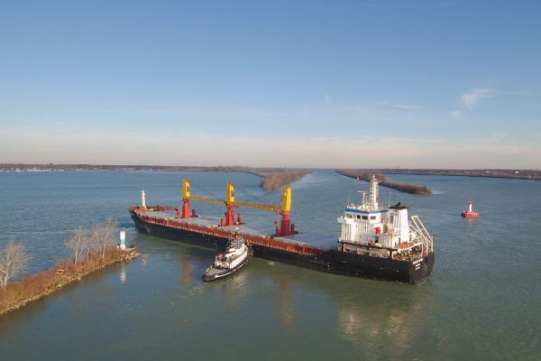 An aerial image of a vessel.
