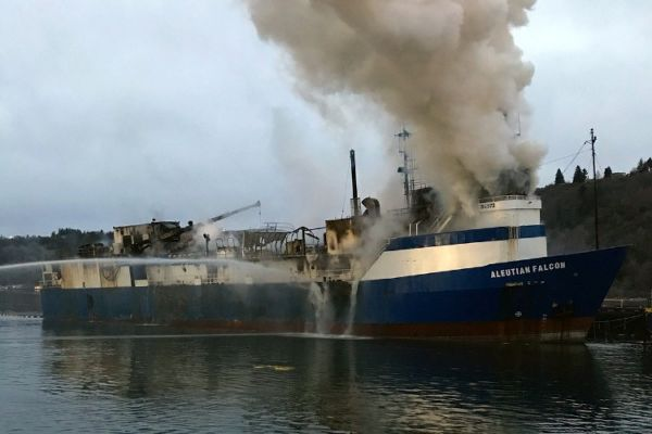 Smoking coming from a vessel.
