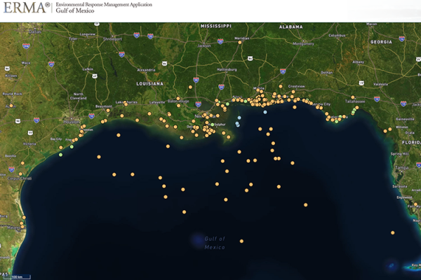A screenshot of a map of the Gulf of Mexico with many yellow dots on it.