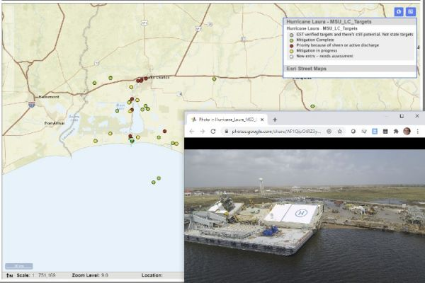 A map showing an area in the Gulf of Mexico, with a photo of a helipad on a shoreline.
