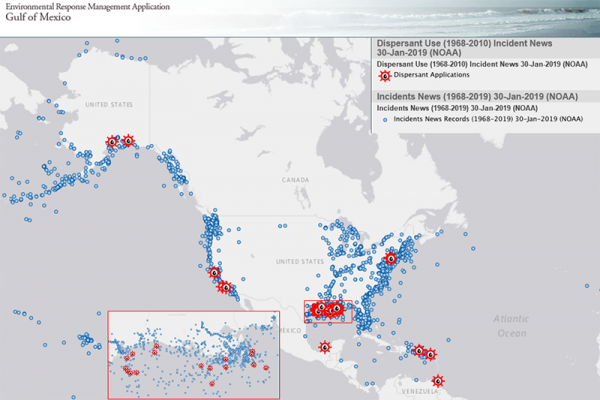 A map of the U.S. with blue dots and red icons indicating historic spills where dispersants were used.
