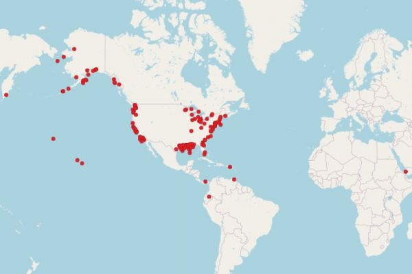 A map of the globe with red dots on it.