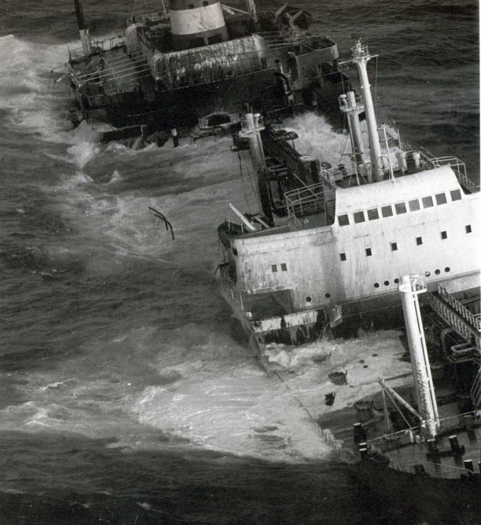 Ship sinking in the ocean.