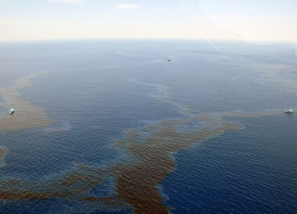 Aerial view of oil on water