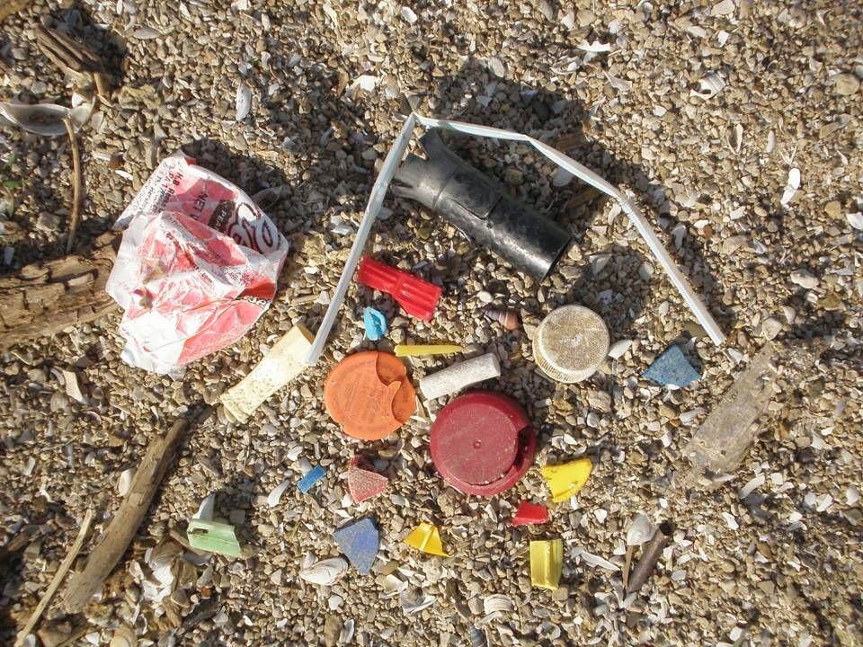 Common marine debris found in the Great Lakes.
