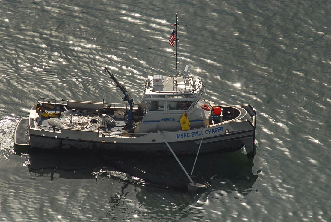 Aerial photo of response vessel on the water.