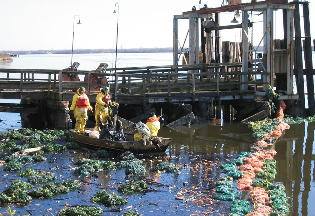 Workers using pom-poms to absorb floating oil by the river's edge.
