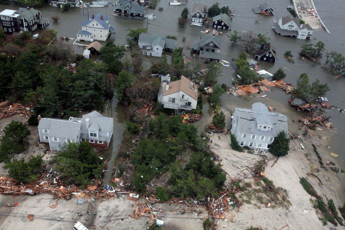 Image of damaged coastal homes in the wake of Hurricane Sandy.