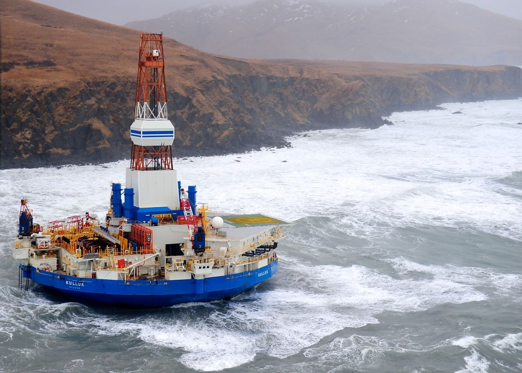 The drilling ship Kulluk, aground near Kodiak Island, Alaska, in January 2013.