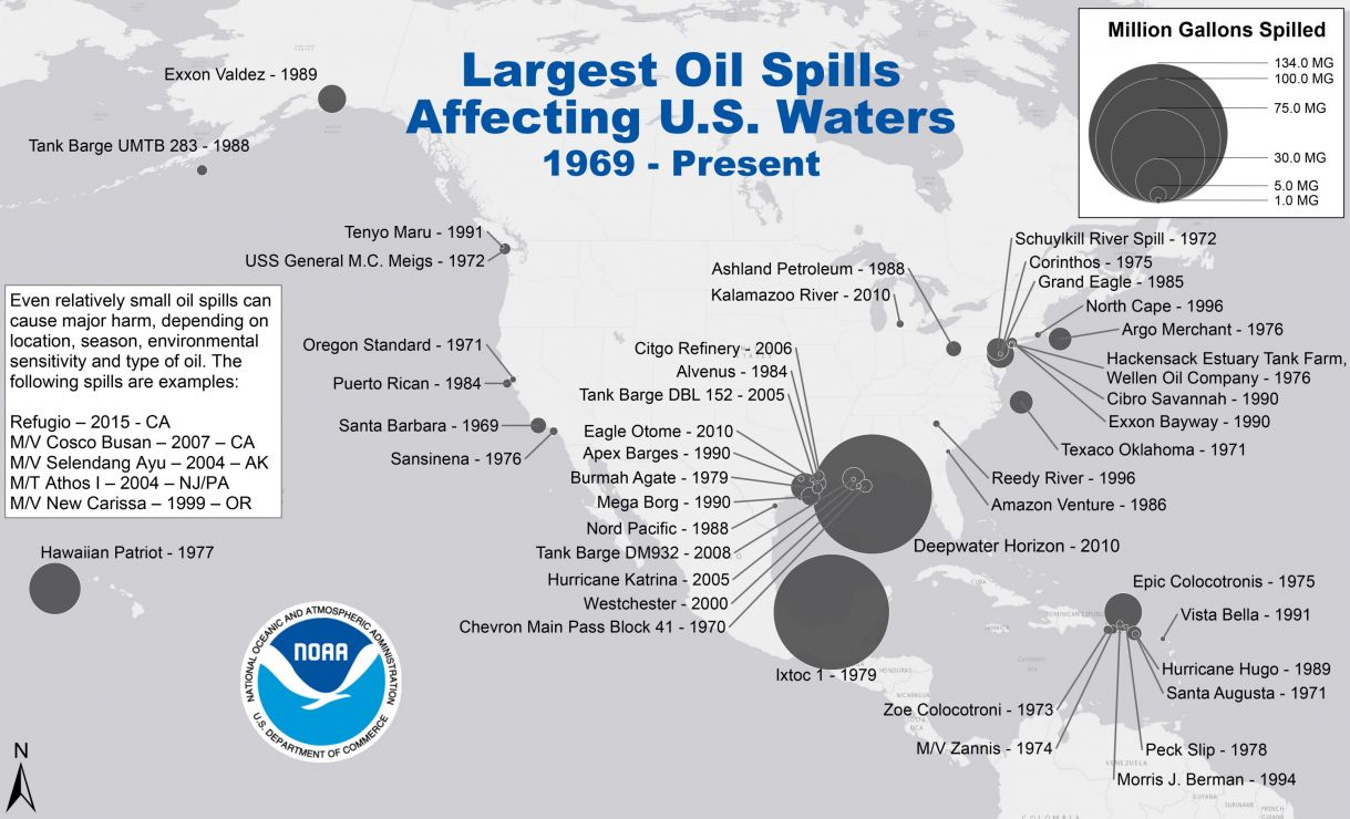 Map of U.S. with dots representing large oil spills.