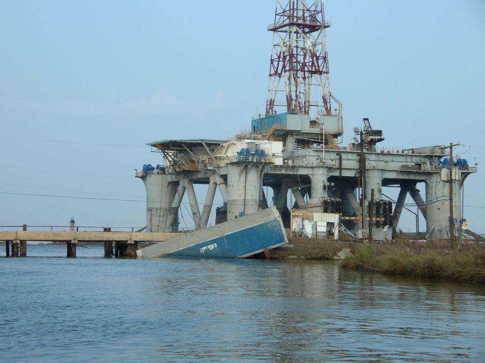 Mobile drilling unit and container van against bridge