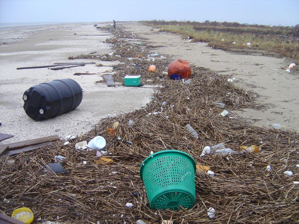 Plastic debris along a beach.