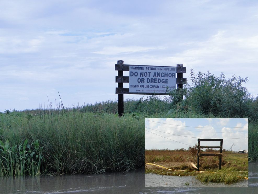 Warning sign in a marsh with inset photo of damaged sign