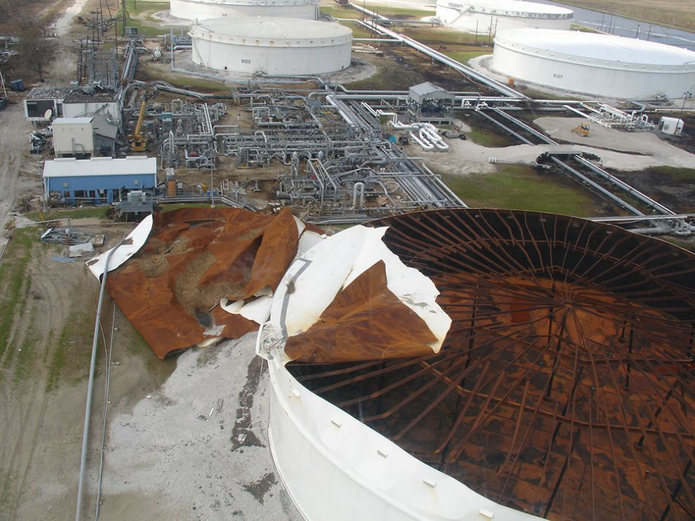 Aerial view of damaged oil tank.