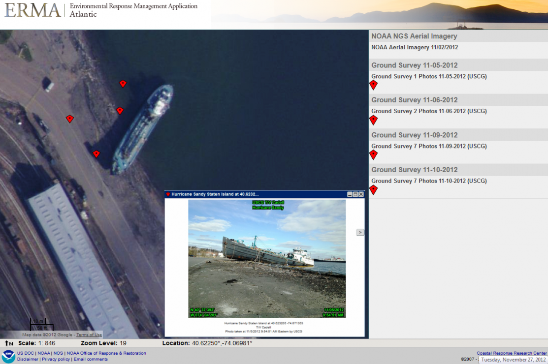 Aerial photos showing the derelict tanker John B. Caddell after Sandy.