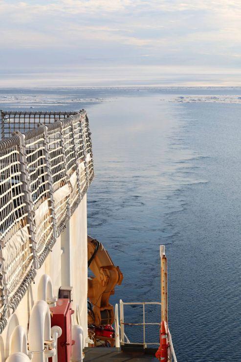 Wake of an icebreaker in the ocean.