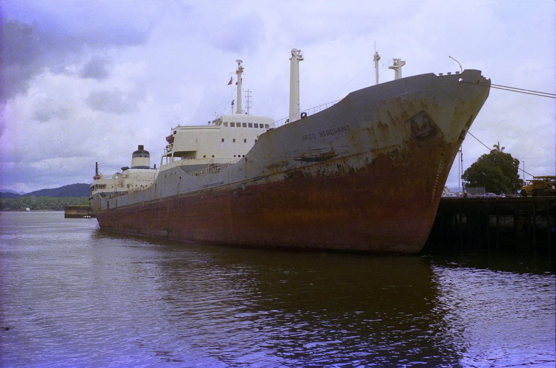 A large vessel at dock.