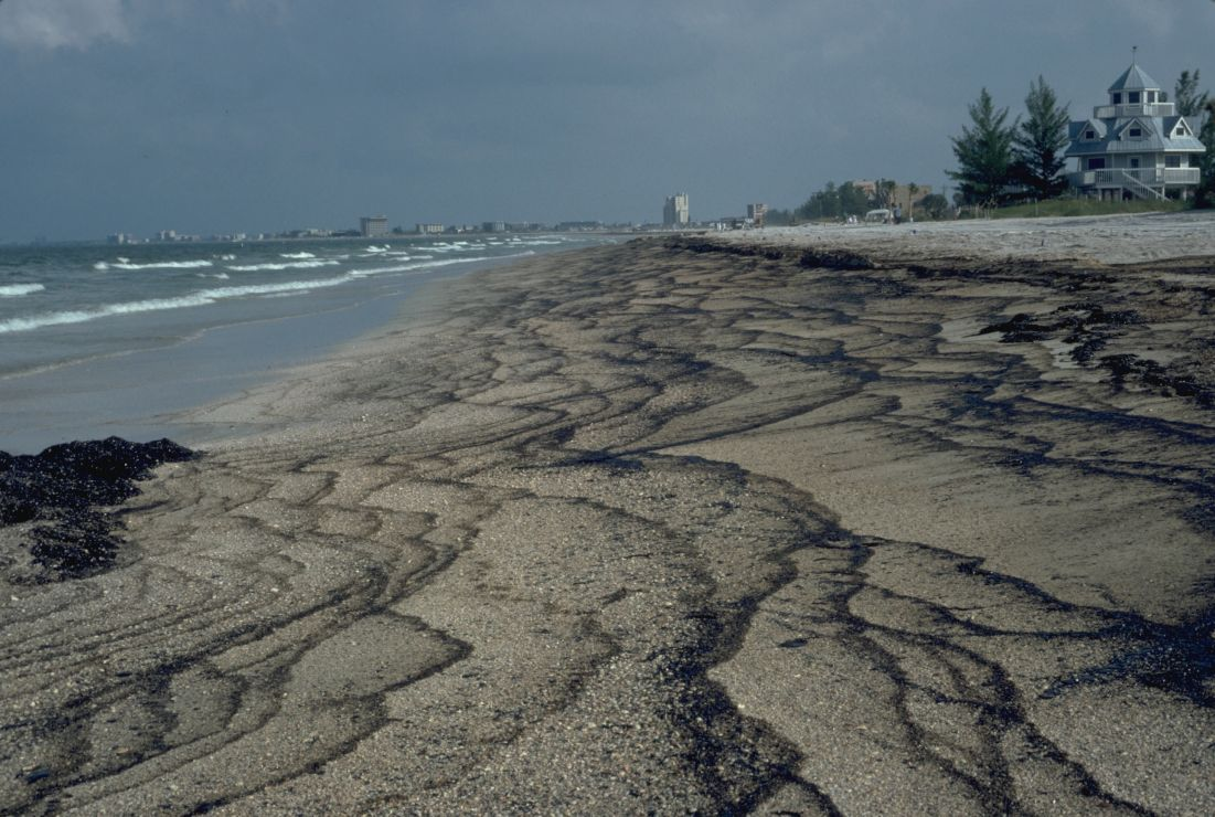 Multiple interlaced streaks of black oil on a long section of beach.