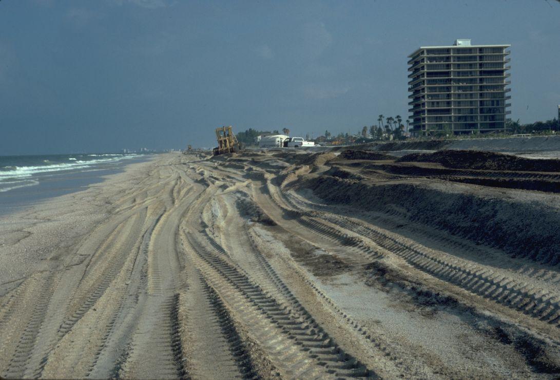 Photo of heavy equipment tracks on a beach.