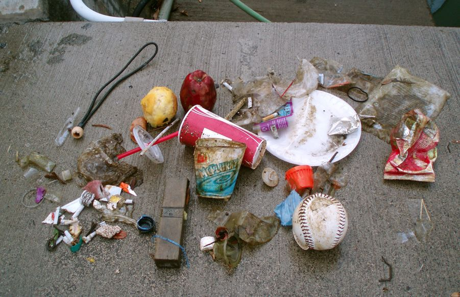 Common marine debris items found on beaches.