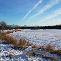 A wintery landscape.