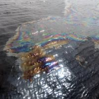 Oil sheen on water.