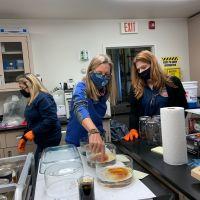 Three women working in a lab.