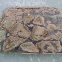 Emulsified oil on ice.
