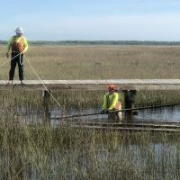 Two people in hard hats and work gear in a marsh, one standing in the water below and the other standing on a boardwalk.