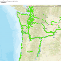 A map of the Pacific Northwest with areas outlined in green.