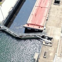 Overhead view of a barge in locks.
