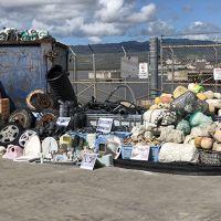 A range of marine debris samples on a dock.