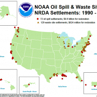 "A map of the U.S. showing ""NOAA Oil Spill & Waste Site NRDA Settlements 1990-2019."""