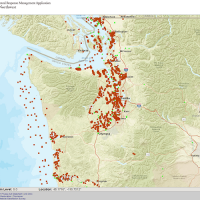 A map of Washington with lots of red dots along Puget Sound and the coast.