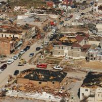 Aerial view of tornado damage to downtown West Liberty, Kentucky.