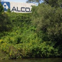 Alcoa aluminum factory with trees.