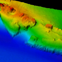 Multi-colored digital terrain model of the wreck of the freighter Fernstream.