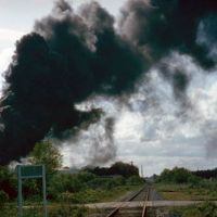 Black smoke from an explosion at a chemical tank storage facility in Savannah.
