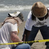 Two men clean up oil on a beach behind yellow caution tape.
