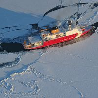 The Coast Guard Cutter Healy breaks ice in the Bering Sea.