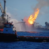 Fighting the flames on the Deepwater Horizon drill platform in 2010.