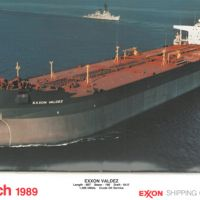 March 1989 calendar image of Exxon Valdez ship.