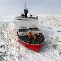 Coast Guard icebreaker in sea ice.