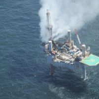 Hercules 265 drilling rig with cloud of leaking natural gas in Gulf of Mexico.